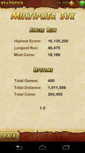 My son's high score on temple run 2